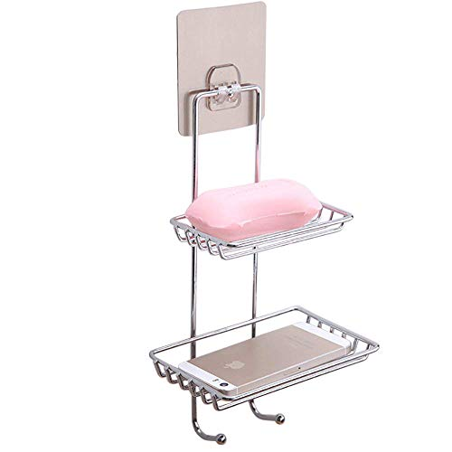 Mural Art Strong Self-Adhesive Stainless Steel Double-Layer Soap Dish Holder with Hooks Nail Free Wall Mounted