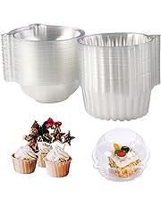 Surflyee 50 stuks cupcake-box, afzonderlijke taartdozen, 10,9 cm individuele cupcake-box voor grote muffins, salade, kaas, cake, pasta, geschikt voor geschenken, party, bruiloft, banketbakkerij