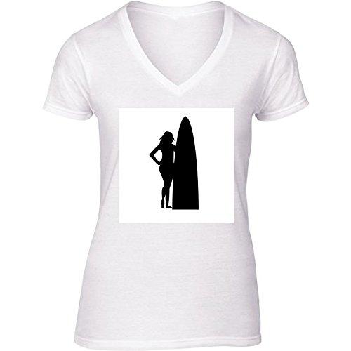 Camiseta Blanca con V-Cuello para Mujer - Tamaño XL - Chica con Tabla De Surf. by loki1982: Amazon.es: Ropa y accesorios