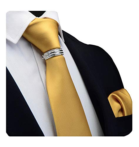 (GUSLESON Brand Men's silk Solid Gold Yellow Wedding Tie Neckties and Pocket Square Clasp Pin Sets (0799-11-S))