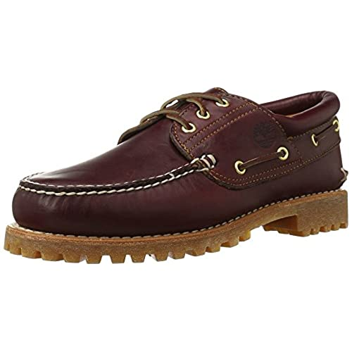 Timberland Men's Classic 3 Eye Lug Boat Shoe, Burgundy/Brown,8.5 M US