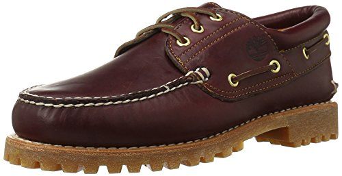 Timberland Men's Classic 3 Eye Lug Boat Shoe, Burgundy/Brown,11 M US Eyelet Mens Shoe