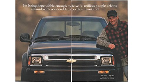 Paper Pickup 000 - Magazine Print ad: 1994 Chevy S Series ZR2 Pickup Truck, Jake Burke, Landscaper, Boston MA, dependable enough to have 36 million people driving around with your emblem on their front end', 2 pages