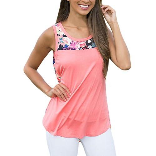 Cheap AlvaQ Womens Summer Casual Floral Print Tank Tops Sleeveless Blouses S-2X hot sale