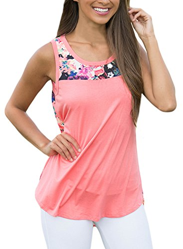 Pink Floral Tank Top (AlvaQ Women Summer Clothes Juniors Cotton Floral Tanks Tops Sleeveless Blouses Shirts Plus Size)