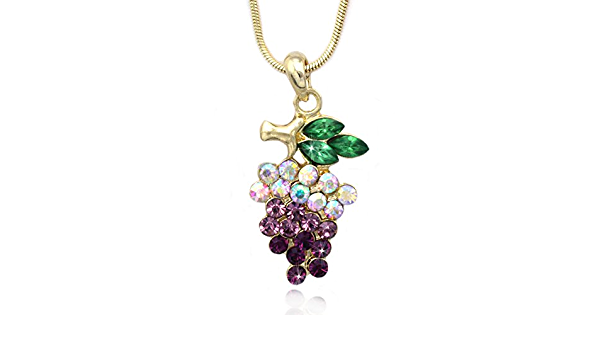 Violet necklace Cross stitch Fruit necklace Violet pendant Grapes violet jewelry Embroidered necklace Women gift Grapes pendant