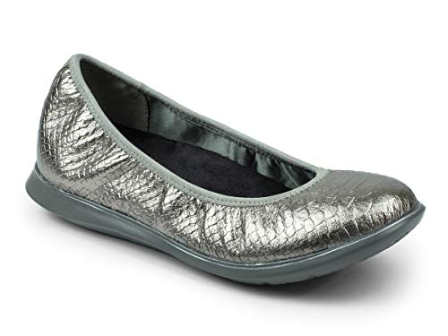 REVITALIGN Women's Inca Leather Ballerina Slip On Flat 12 Pewter Snake ()