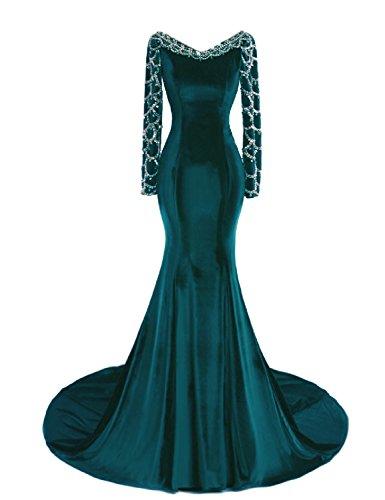 Sweeping Train Satin - OYISHA Womens Long Sleeve Mermaid Evening Dress Beaded Wedding Gown Formal EV136 Jade 16