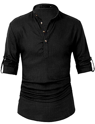 Leisurely Pace Roll up Long Sleeve Linen Banded Collar Slim fit Henley Shirts for Men (30BK, 3XL) Black