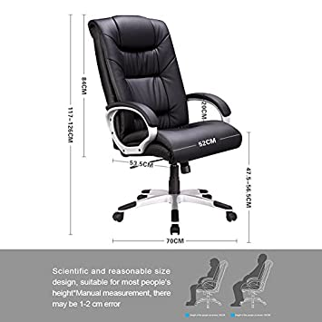 TRANSPEARL Computer Chair High Back PU Leather Adjustable Office Chair with Arm Back Tilt Function, Black