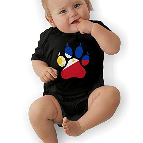Short Sleeve Cotton Rompers for Baby Girls Boys, Cute The Philippines Dog Paw Onesies -