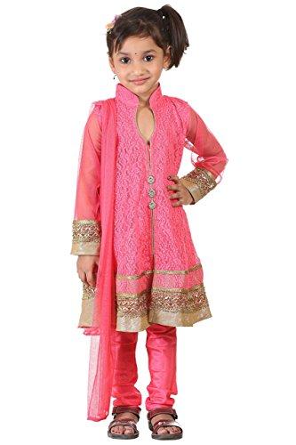 Trendy Salwar (Ashwini Big Girls' Netted Embroidery Salwar 6-7 Years Pink)