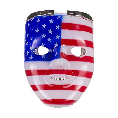 LED Light Up Patriotic USA Red White and Blue American Flag Double Face Mask Costume Party ()