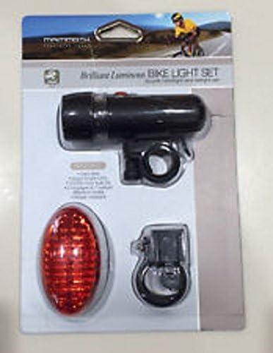 Mammoth Brilliant Luminous LED Bike Light Set Head /& Tail Light Water Resistant