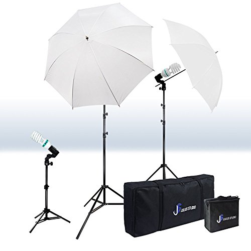 Julius Studio Photography Video Studio Portrait Lighting Kit, White Umbrella Reflector, Continuous Bulb & Socket with Umbrella Insert, Light Stand Tripod, Carry Bag, Photo Studio, JSAG2