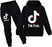 TIK Tok Pull Over Long Sleeve Hoodies and Sweatpants Set-Graphic Hooded Sweatshirts Set for Kids