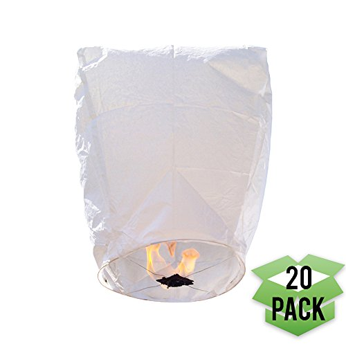 Just Artifacts 20 Eclipse White Chinese Flying Sky (Floating) Lanterns - (Eclipse, Set of 20, White) -