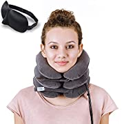 Cervical Neck Traction 鉁?Effective Neck Pain Remedy at Home 鉁?Inflatable & Adjustable Neck Stretcher Collar Device + Eye Mask Bonus (Gray)