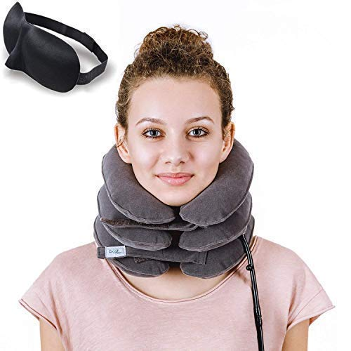 DaviSMART Cervical Neck Traction ✮ Effective Neck Pain Remedy at Home ✮ Inflatable & Adjustable Neck Stretcher Collar Device + Eye Mask Bonus ( Gray )