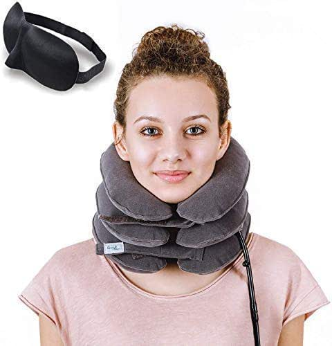Cervical Neck Traction Device by Davismart, Inflatable Collar Brace, Adjustable Neck Stretcher, Neck Support, Ideal for Spine Alignment at Home and Chronic Neck Pain Relief (Gray)