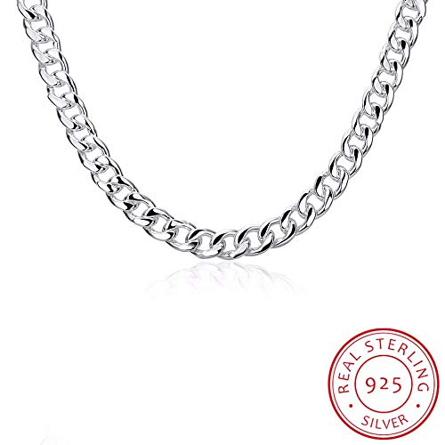 GYXYZB Fine Jewelry 20 '' Width 10Mm Flat Chain 925 Sterling Silver Fashion Charm Thick Lace Necklace