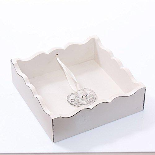 DiKasa Home Portatovaglioli Shabby, Metallo, Bianco, 20x20x5 cm 21-AD6445