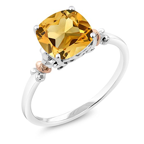 Cut Ring 3 Stone Citrine (925 Sterling Silver and 10K Rose Gold Ring Yellow Citrine (3.00 cttw, 8x8mm Cushion, Available in size 5, 6, 7, 8, 9))