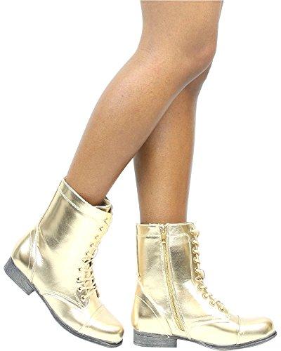 Bootie / Stivali Da Combattimento Moda Militare Di Bambù Da Donna Gold_s13