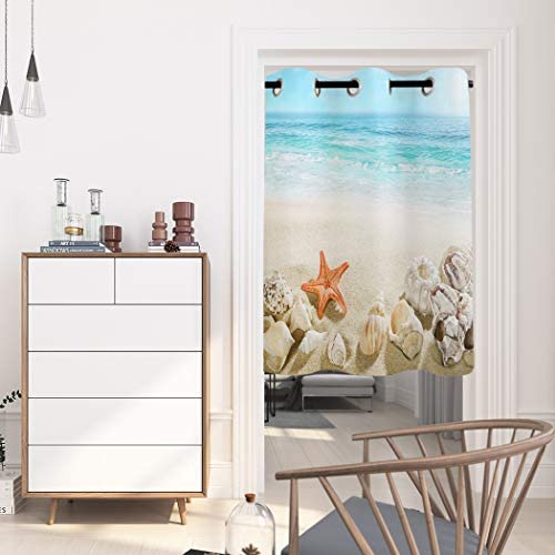 WARM TOUR Window Curtain Panel Coastal Beach Clear Water Printing Decor Durable Drapes for Bedroom Kitchen Living Room Seashell Starfish