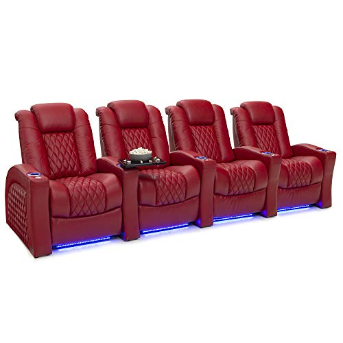 Seatcraft Stanza - Home Theater Seating - Power Recliners - Leather - Adjustable Powered Headrest and Lumbar Support - Cup Holders - USB Charging - Ambient Lighting- SoundShaker - Row of 4 - Red