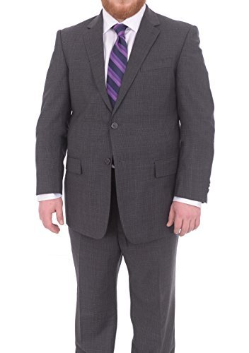 Lazetti Couture Portly Fit Charcoal Gray Check Two Button Super 130's Wool Suit 130's Wool Suit