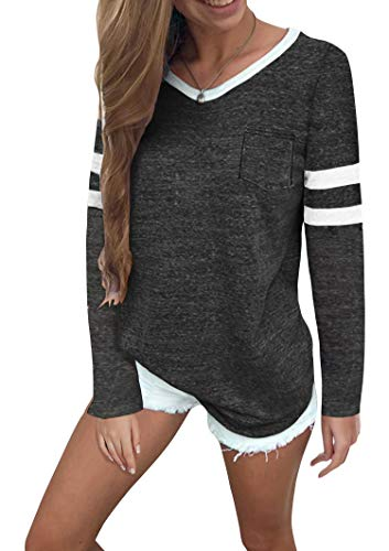 Twotwowin Women's Summer Tops Casual Cotton V Neck Sport T Shirt Short Sleeve Blouse (Style2 Dark Grey, Large)