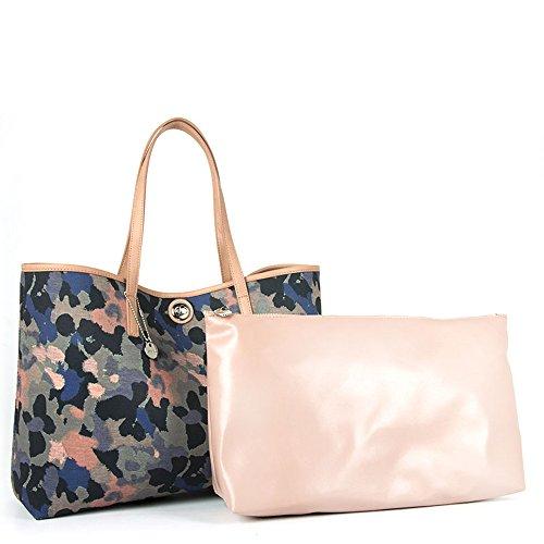 Loristella - Shopping bag reversibile Loristella, fantasia camouflage e tinta unita, made in Italy - Multicolor/Cipria - 1957.REV.CAMOU - Multicolor/Cipr - UNICA