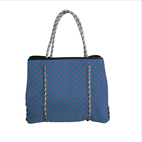 iPrint Neoprene Multipurpose Beach Bag Tote Bags,Anchor,Pink Icons on Blue Polka Dotted Background Retro Nautical Pattern Print Decorative,Magenta Violet Blue,Women Casual Handbag Tote Bags
