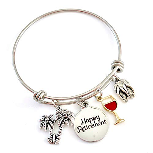 Happy Retirement, Wine and Beach Awaits Gifts Bangle Bracelet with Palm Trees and Flip Flops