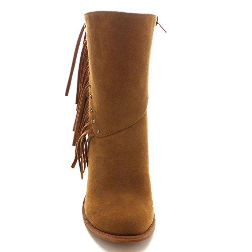 Betani Kimberly-6 Stivale Donna Con Tacco Medio Impreziosito Da Zip Laterali, Colore: Marrone, Misura: 9