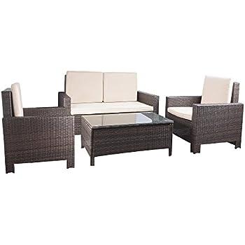 devoko porch patio furniture set clearance 4 piece pe rattan wicker garden sofa beige cushion chairs