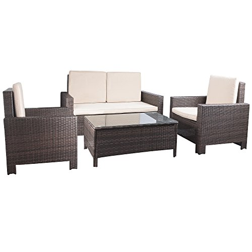 Devoko Porch Patio Furniture Set Clearance 4 Piece PE Rattan Wicker Garden  Sofa Beige Cushion Chairs - Devoko Porch Patio Furniture Set Clearance 4 Piece PE Rattan Wicker