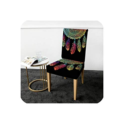 NanPing Dreamcatcher Dining Chair Cover Bohemia Mandala Spandex Elastic Slipcover Anti Dirty Seat Case Cover,Half,Universal (A Half Toronto And Chair)