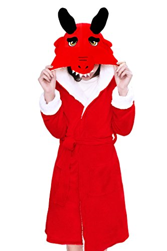 Lifeye Animal Dragon Bathrobe Kids and Adult Robes Pajamas Night Gown Red