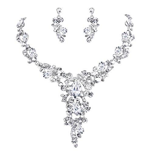 (BriLove Wedding Bridal Necklace Earrings Jewelry Set for Women Crystal Leaf Vine Teardrop Hollow Statement Necklace Dangle Earrings Set Clear Silver-Tone)