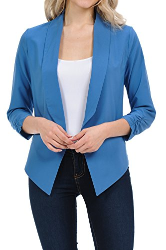 Auliné Collection Womens Casual Lightweight 3/4 Sleeve Fitted Open Blazer Denim Blue 2XL