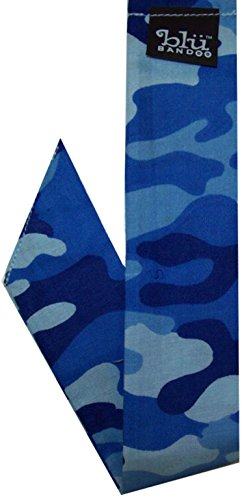 Blubandoo Water Activated Evaporative Neckbandoo Cool Tie. Blue Camo Print. Over 150 USA Made Cooling Bandana Scarf Prints for Men And Women Heat -