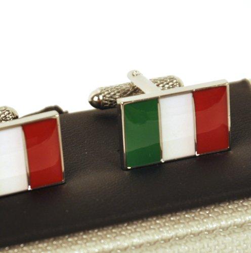 Onyx Art Cufflinks - Italy - Italian Flag (Bandiera Italiana) ()