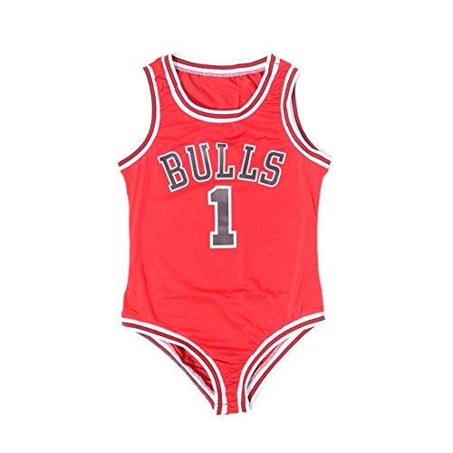 Sexy Women Bulls 1 Printed Basketball Red Bodysuit Swimwear Swimsuit Jumpsuit (Miley Cyrus Costume)