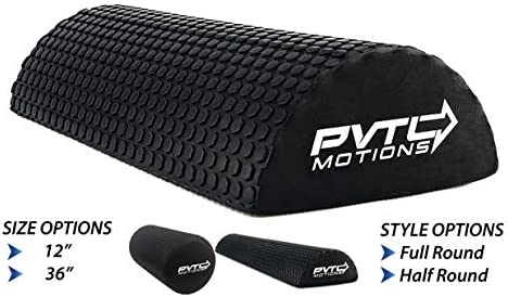 PVTL Half Round or Full Round Foam Roller 12 or 18 or 36 Foam Roller for Physical Therapy Exercise Black optp 1 Year Guarantee Physical Therapy Equipment