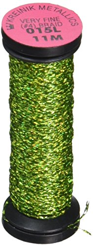 Kreinik No.4 Very Fine Metallic Craft Braid, 12-Yard, Laser Lime