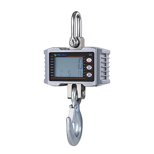 Crane Scale,Klau 1T 2000 lb Industrial Hanging Scales 0.5 kg / 1 lb Resolution LCD Display with Backlight Silver for Factory