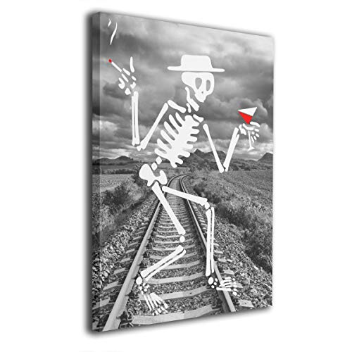 SRuhqu Canvas Wall Art Prints 3D Dancing Skeleton Dancing On Halloween -Photo Paintings Contemporary Home Decoration Giclee Artwork-Wood Frame Ready to Hang -