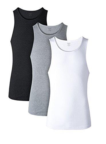 David Archy Men's 3 Pack Cotton Rib Tank Top A-Shirts Sleeveless Workout Undershirts(Black/White/Heather Dark Gray,S)